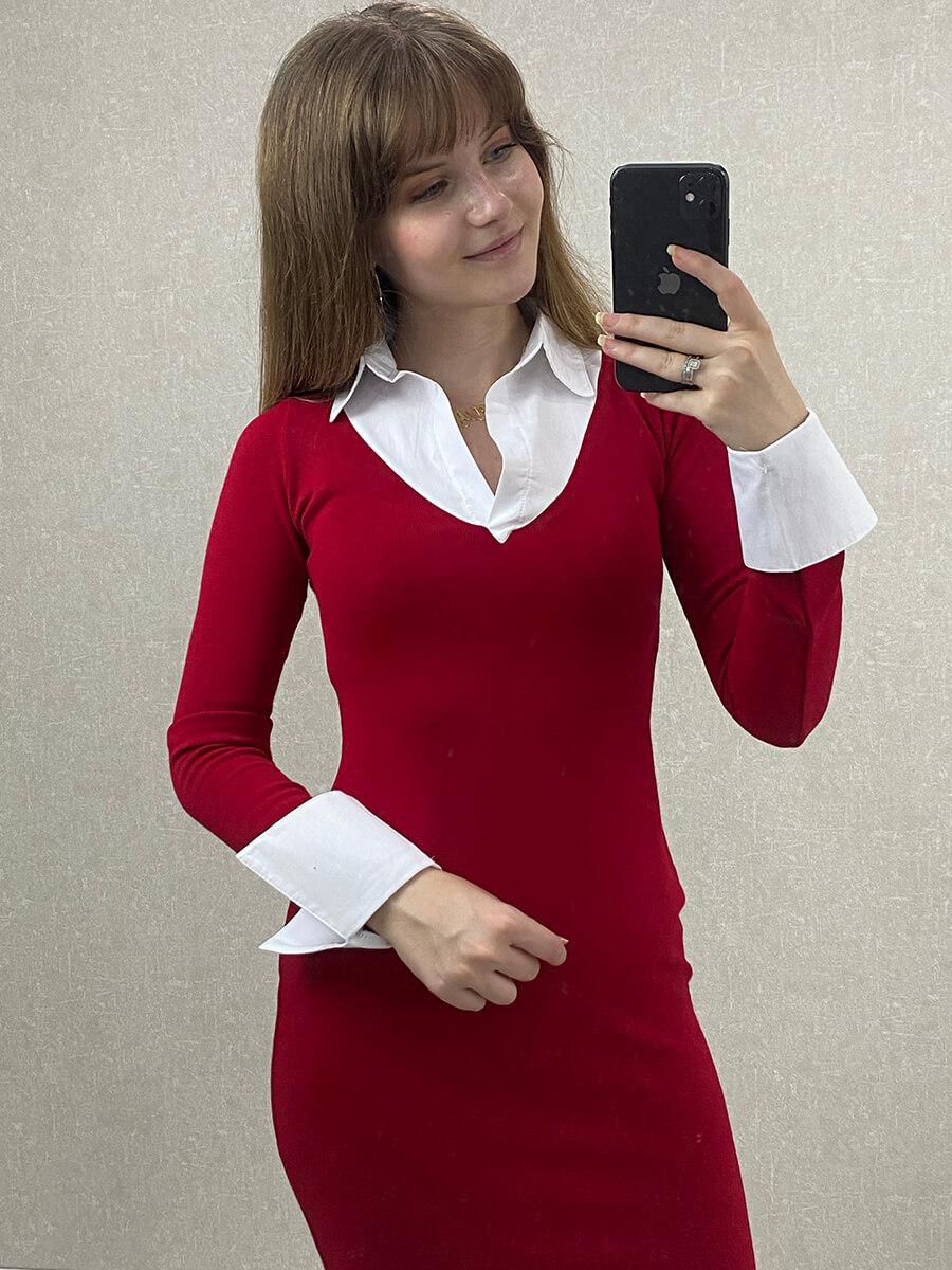 Gömlek Yaka Kırmızı Midi Boy Triko Elbise