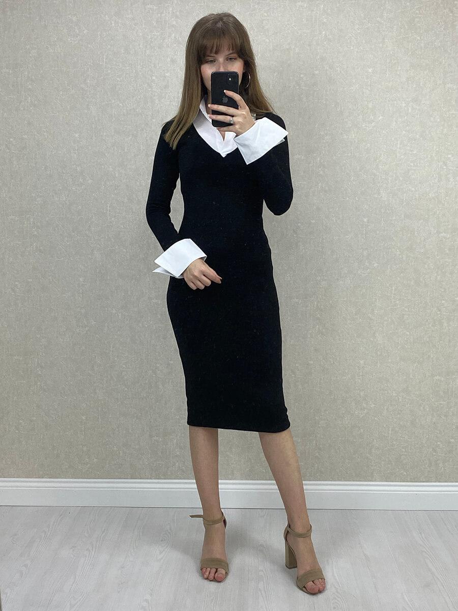 Gömlek Yaka Siyah Midi Boy Triko Elbise