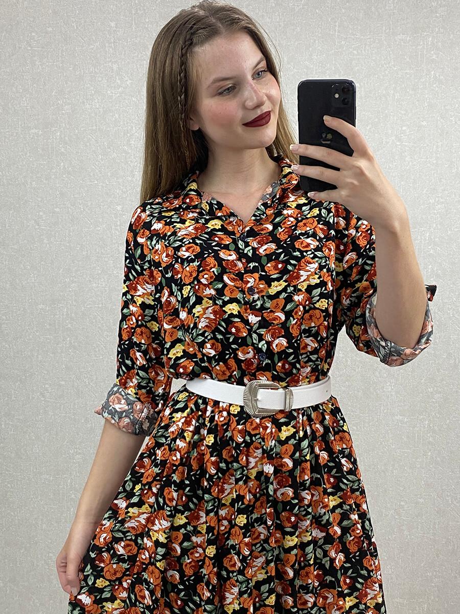 Gül Desenli Turuncu Midi Boy Gömlek Elbise