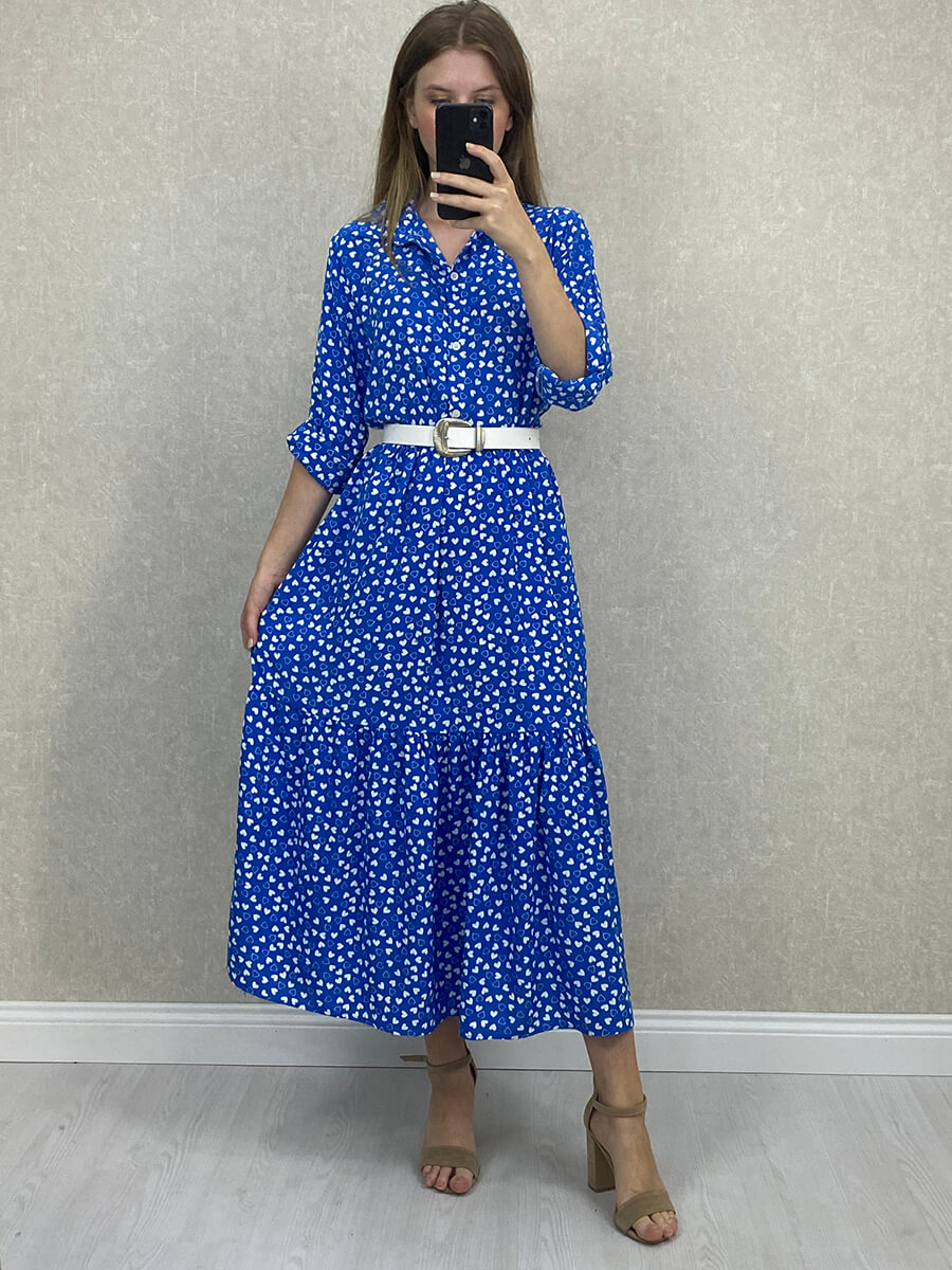 Kalp Desenli Mavi Midi Boy Gömlek Elbise