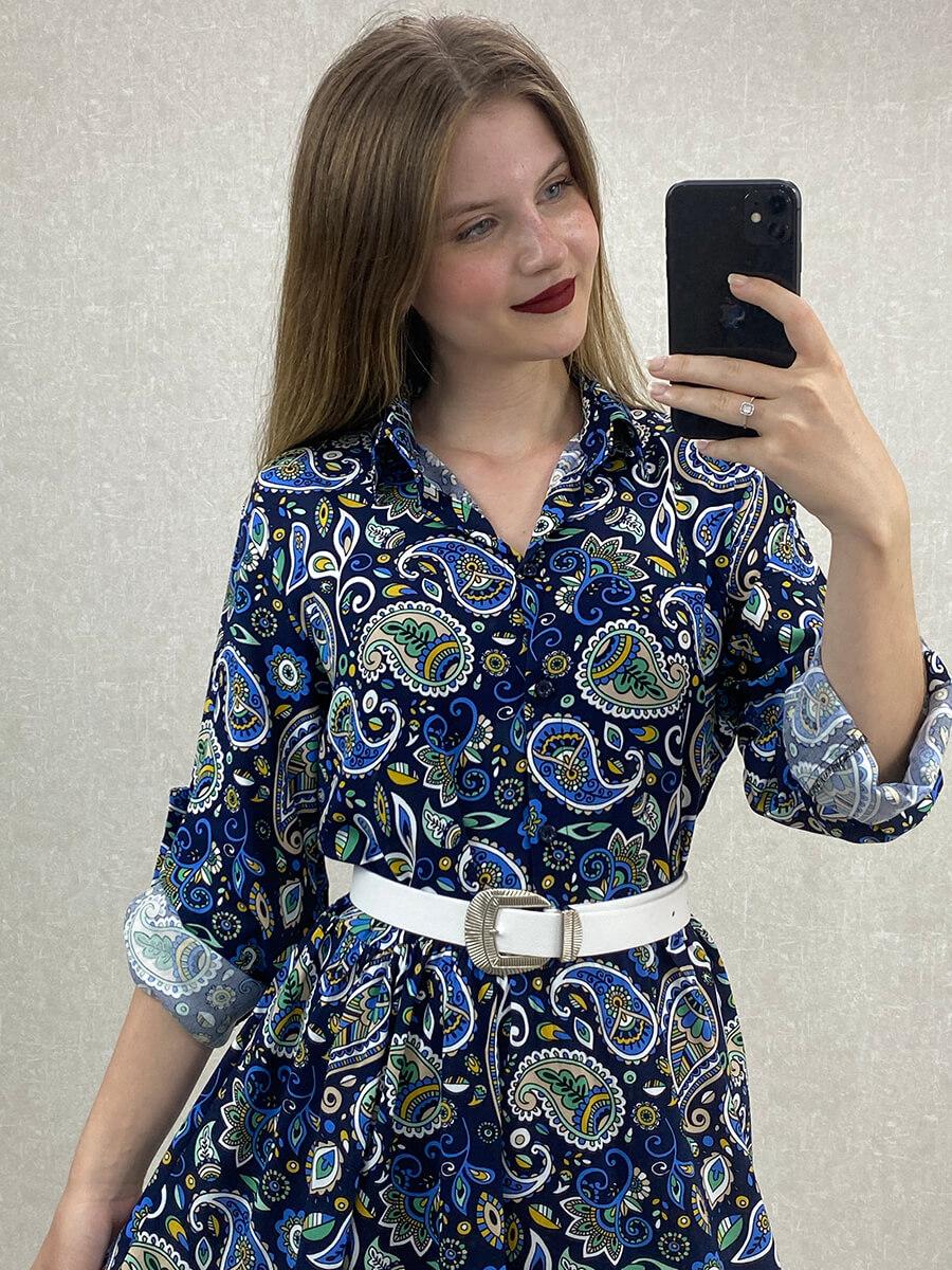 Şal Desenli Lacivert Midi Boy Gömlek Elbise