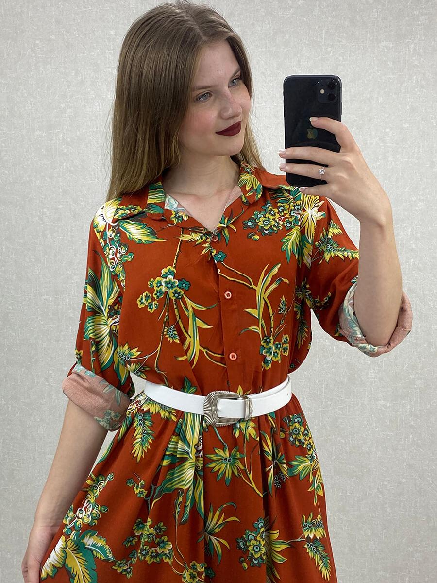 Yaprak Desenli Kiremit Midi Boy Gömlek Elbise