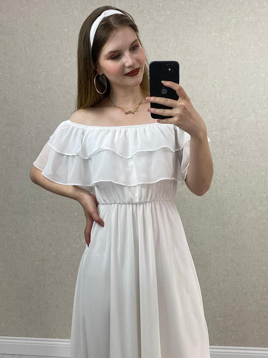 Önü Katlı Düşük Omuz Beyaz Midi Hamile Elbisesi