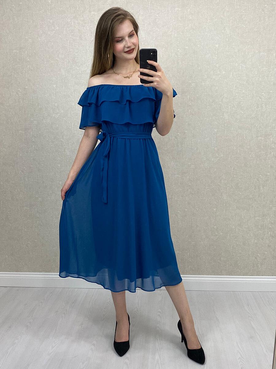 Önü Katlı Düşük Omuz Petrol Mavisi Hamile Midi Elbise