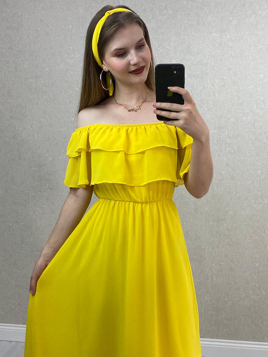 Önü Katlı Düşük Omuz Sarı Midi Hamile Elbise