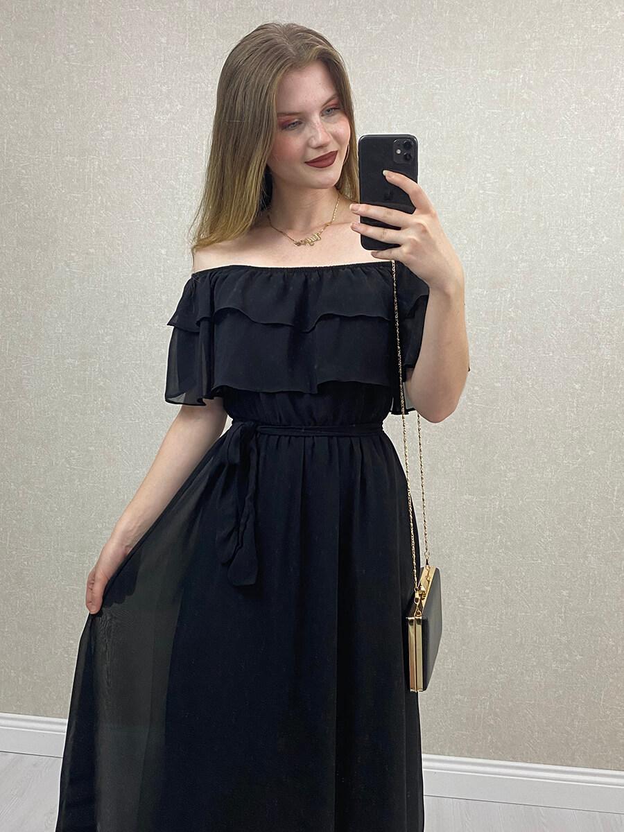 Önü Katlı Düşük Omuz Siyah Hamile Elbise