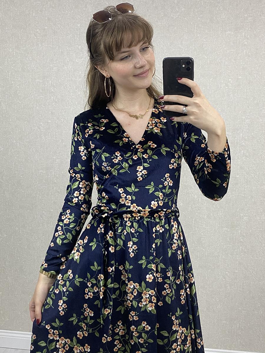 Kruvaze Çiçekli Lacivert Kadife Midi Elbise
