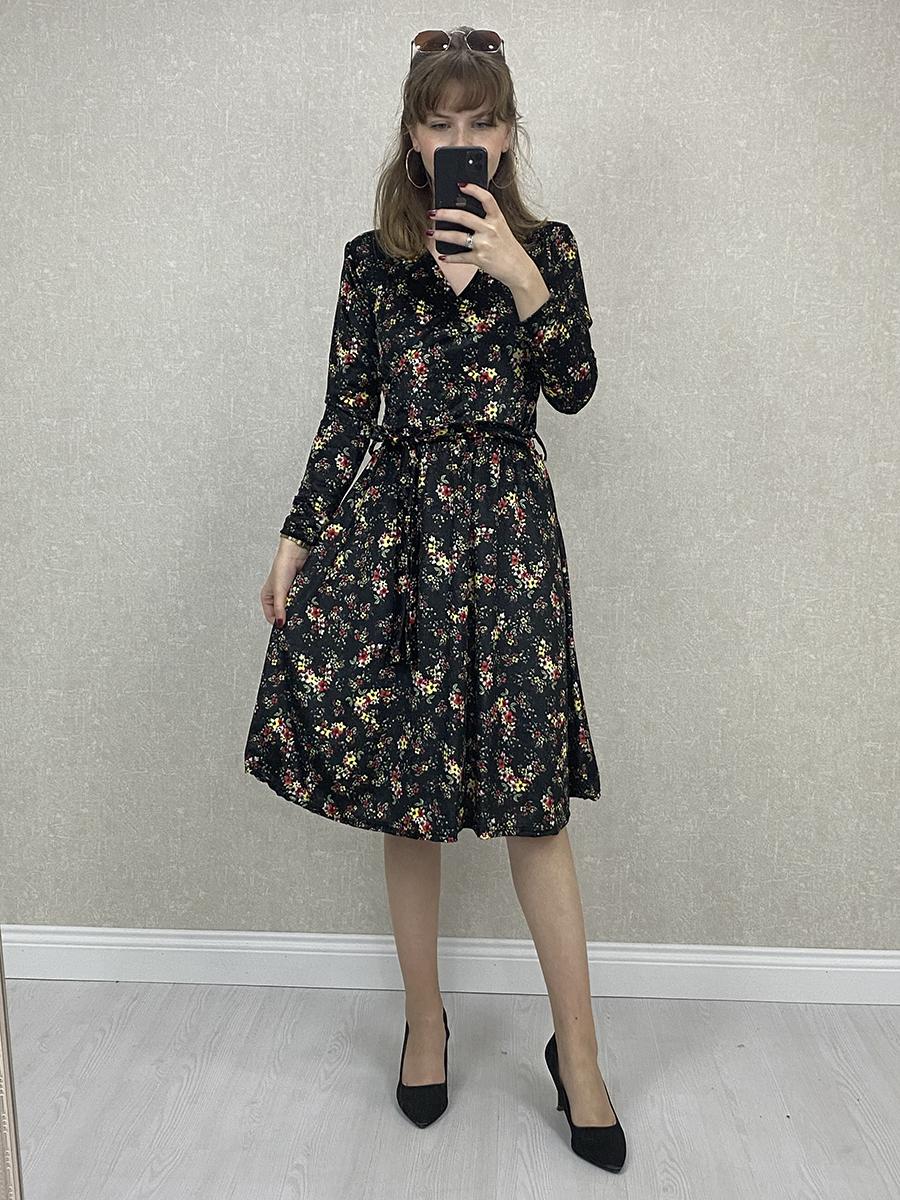 Kruvaze Çiçekli Siyah Kadife Midi Elbise
