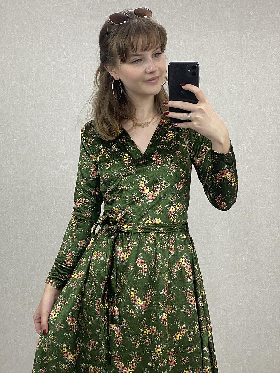 Kruvaze Çiçekli Yeşil Kadife Midi Elbise