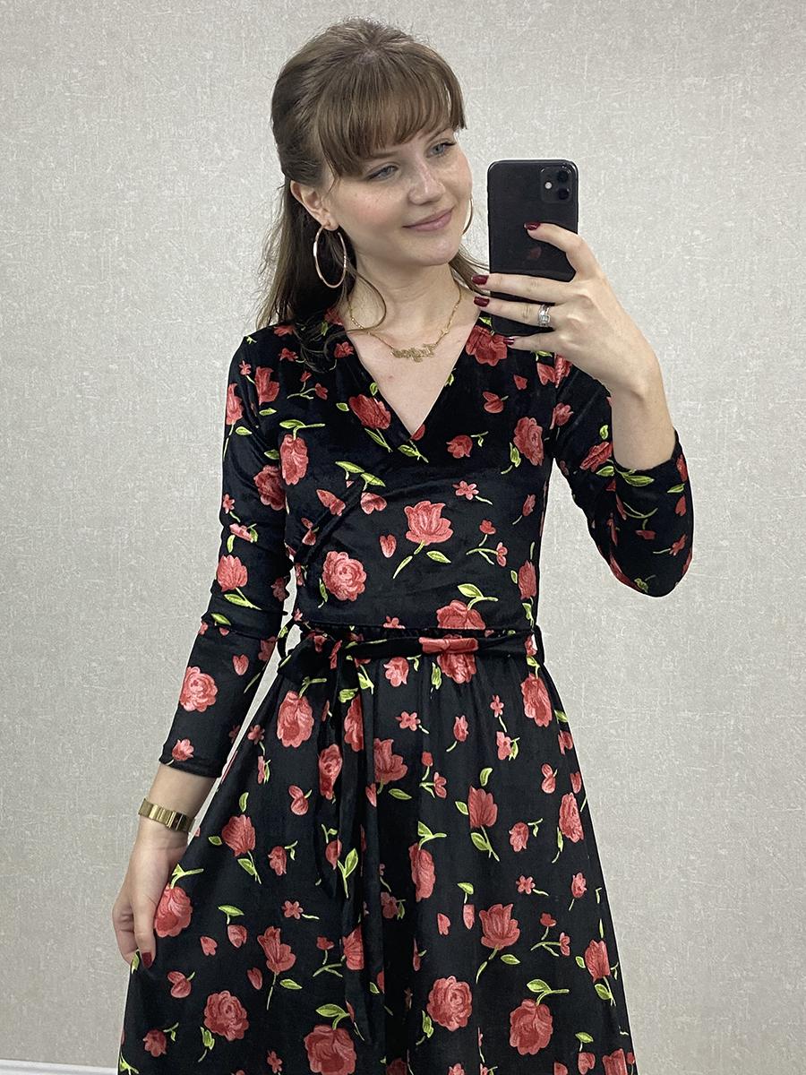 Kruvaze Yaka Güllü Siyah Kadife Midi Elbise