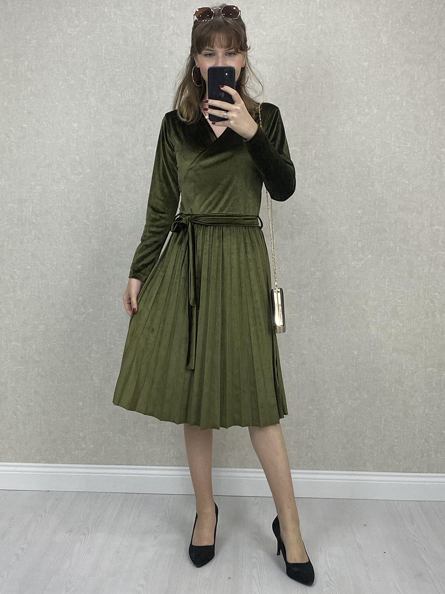 Kruvaze Beli Kuşaklı Haki Kadife Midi Elbise