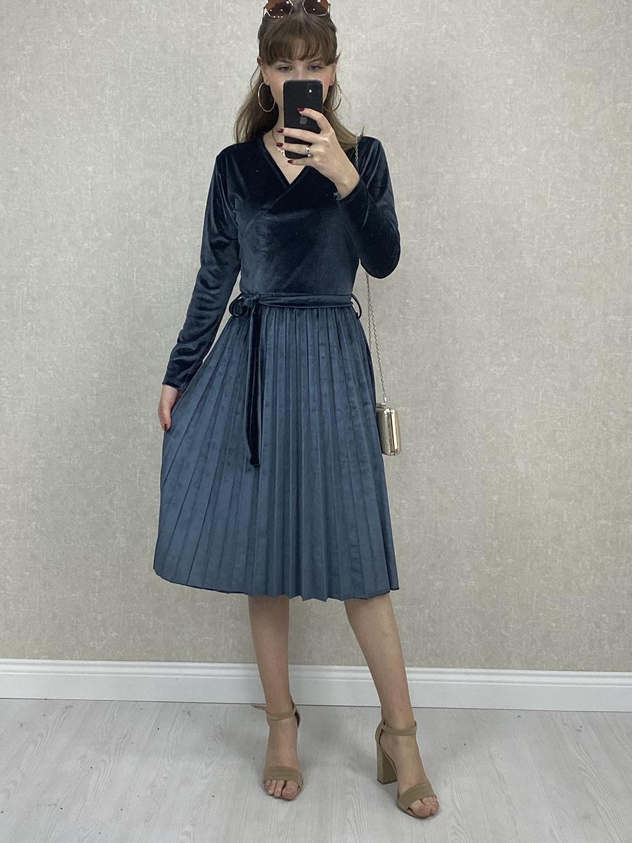 Kruvaze Beli Kuşaklı İndigo Kadife Midi Elbise
