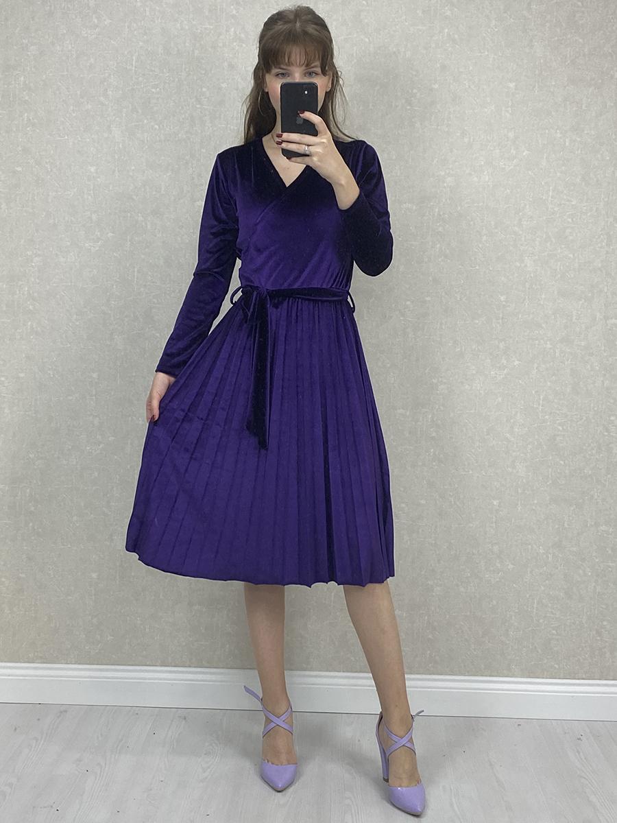 Kruvaze Beli Kuşaklı Mor Kadife Midi Elbise