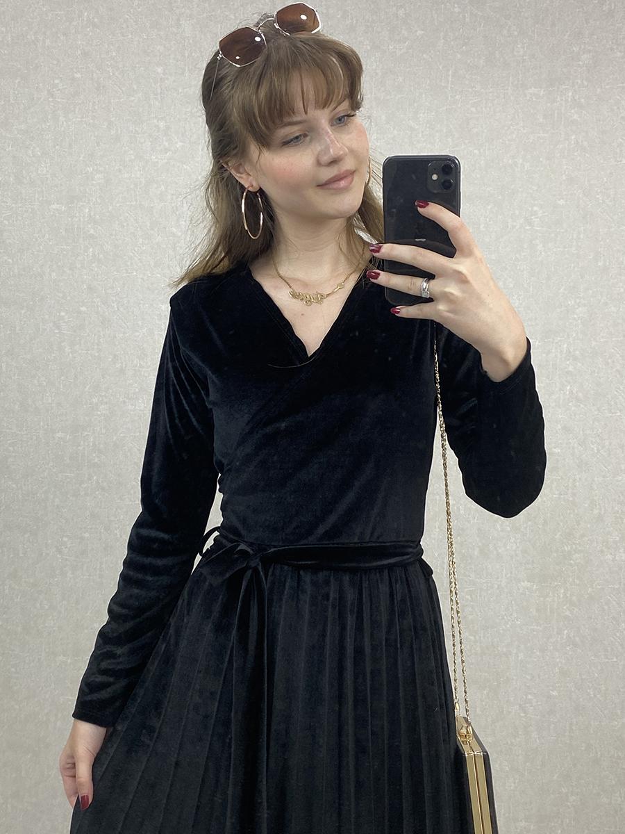 Kruvaze Beli Kuşaklı Siyah Kadife Midi Elbise