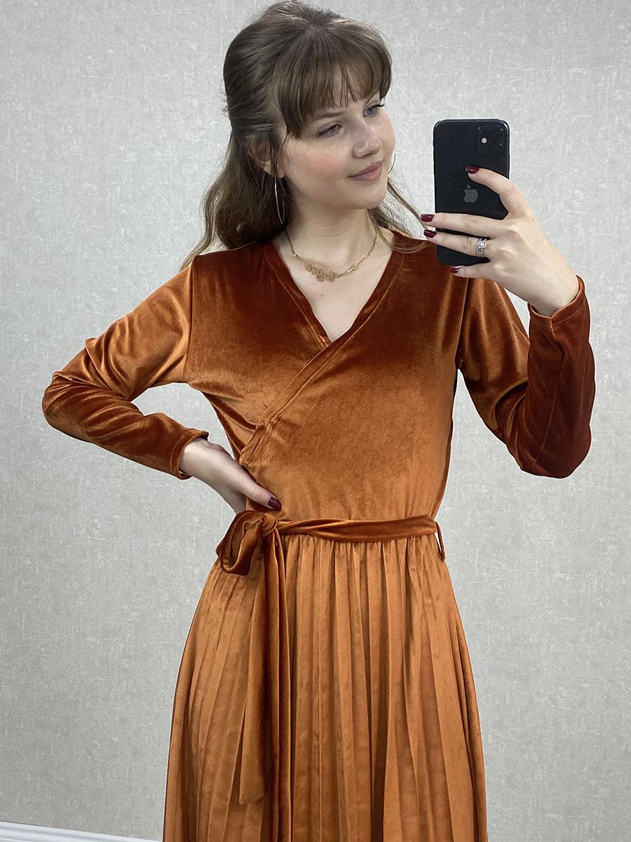 Kruvaze Beli Kuşaklı Turuncu Kadife Midi Elbise