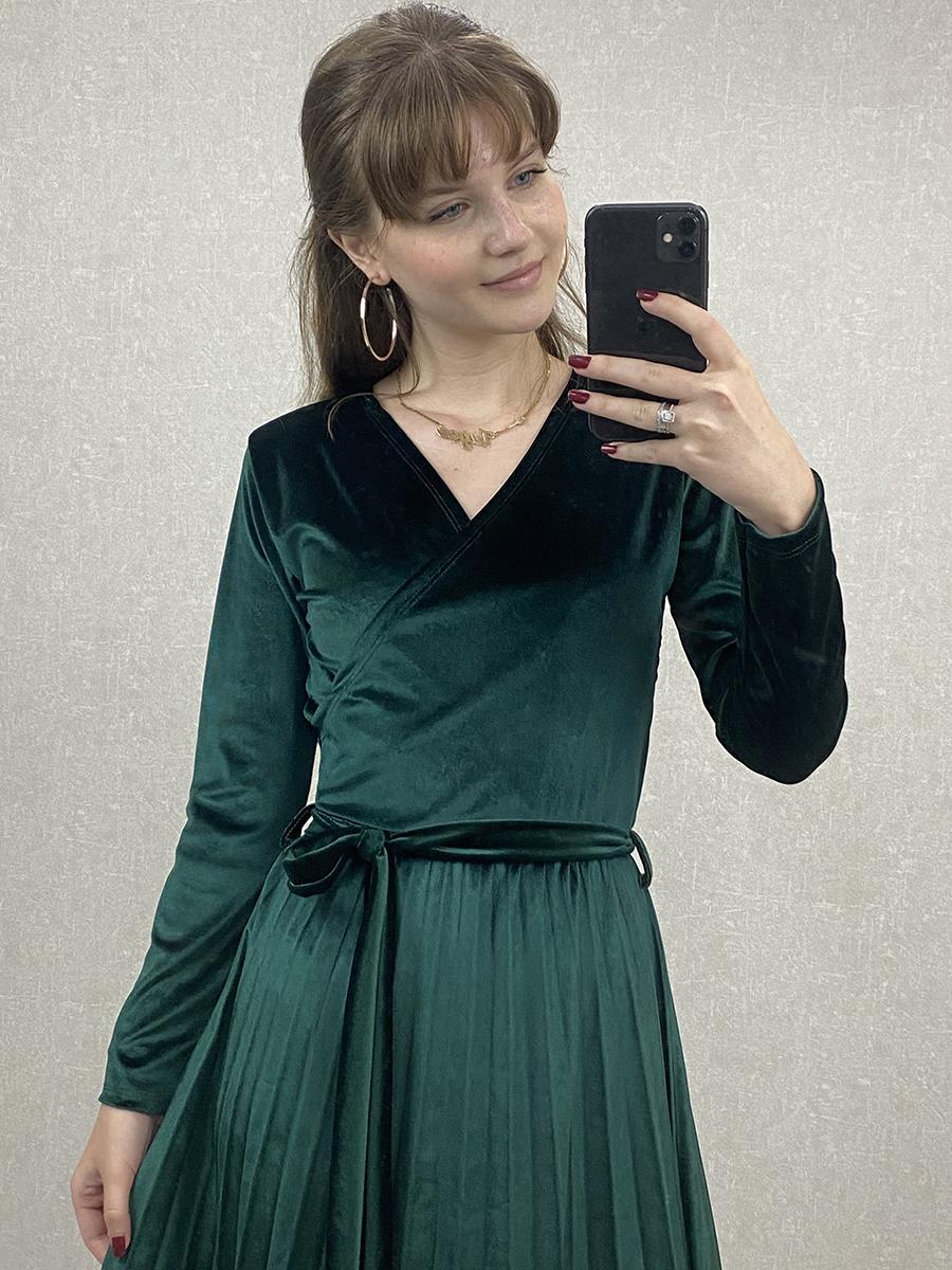 Kruvaze Beli Kuşaklı Zümrüt Kadife Midi Elbise