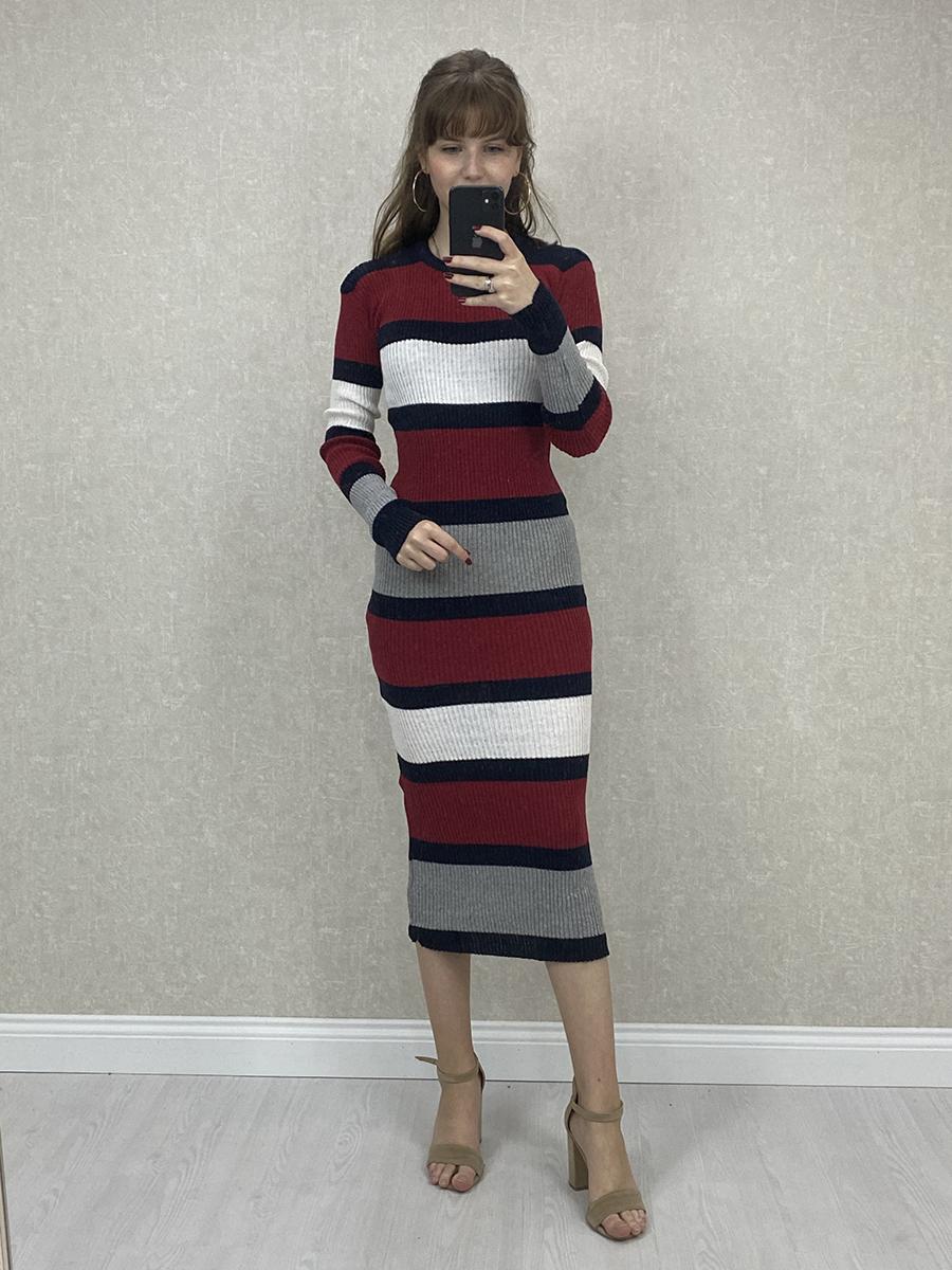 Renkli Kalın Çizgili Bordo Midi Triko Elbise - Lacivert, Gri