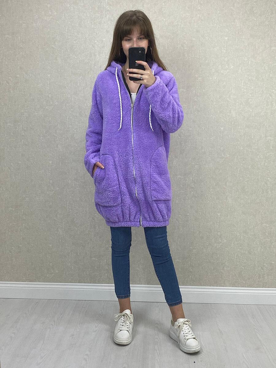 Kapşonlu Lila Uzun Peluş Sweatshirt