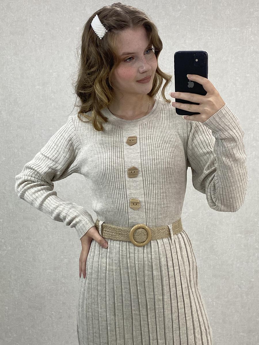 Önü Düğmeli Piliseli Uzun Krem Triko Elbise