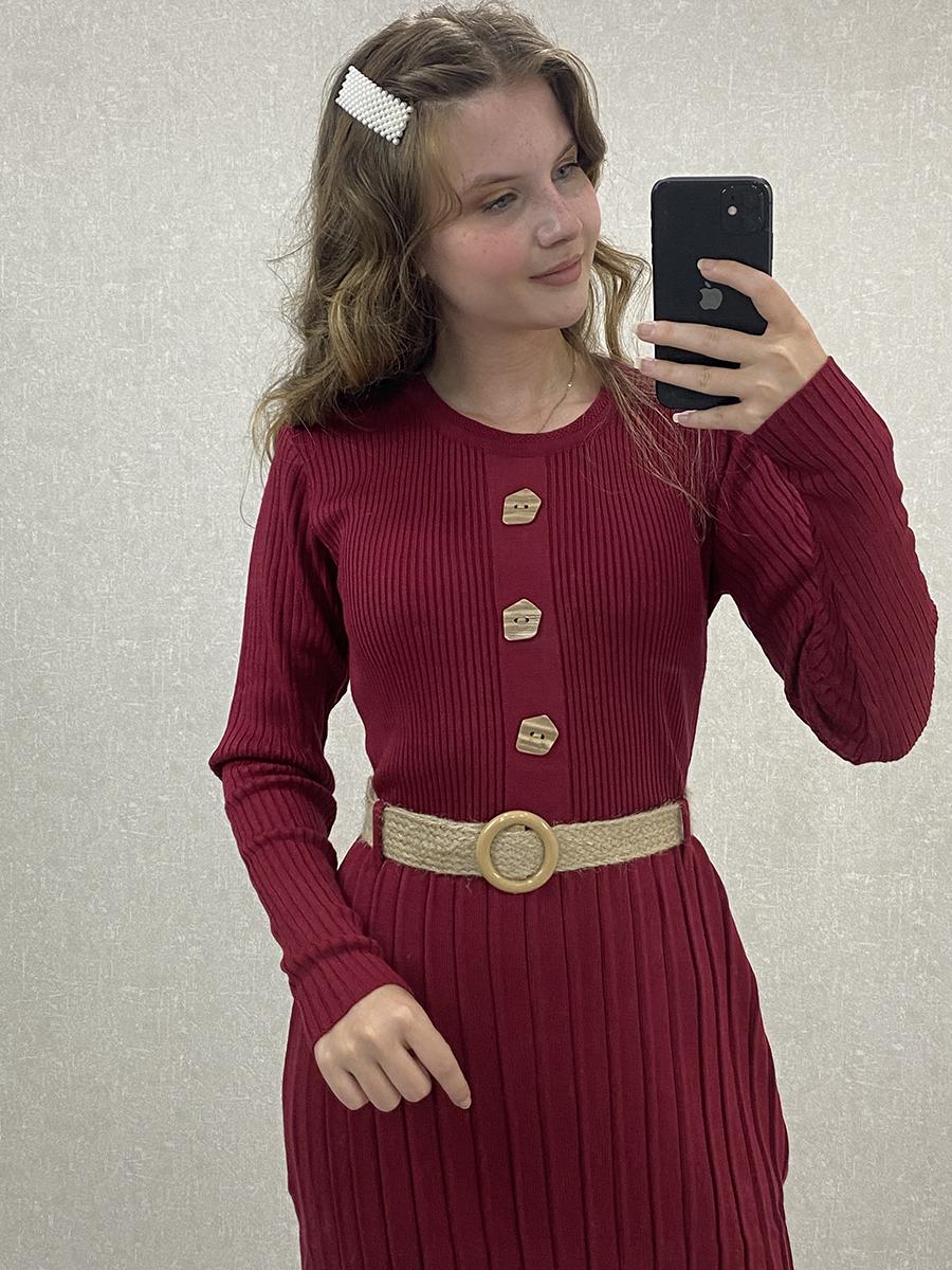 Önü Düğmeli Piliseli Bordo Triko Uzun Elbise