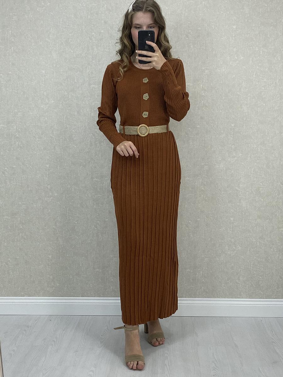 Önü Düğmeli Piliseli Uzun Kahve Triko Elbise