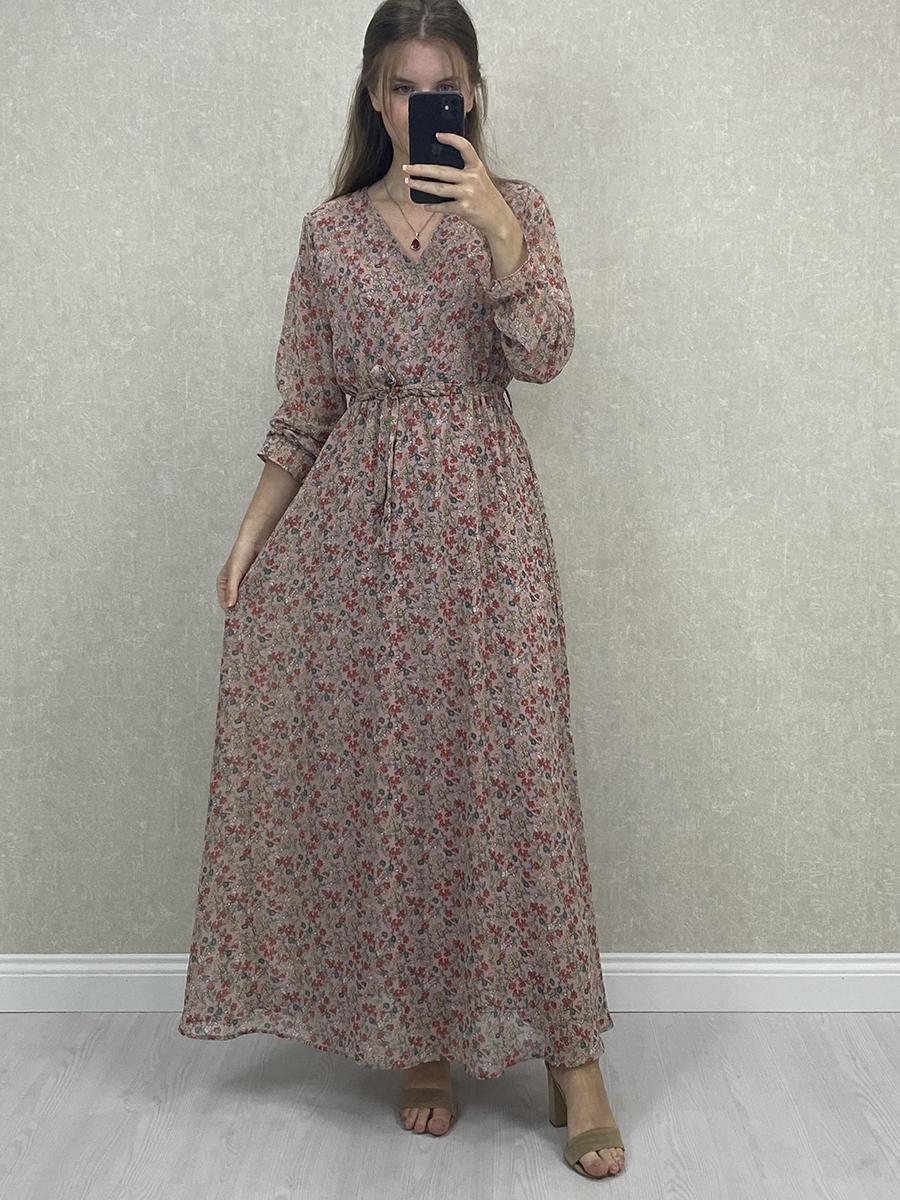 Uzun Kol Çiçekli Kuşaklı Pudra Maxi Elbise