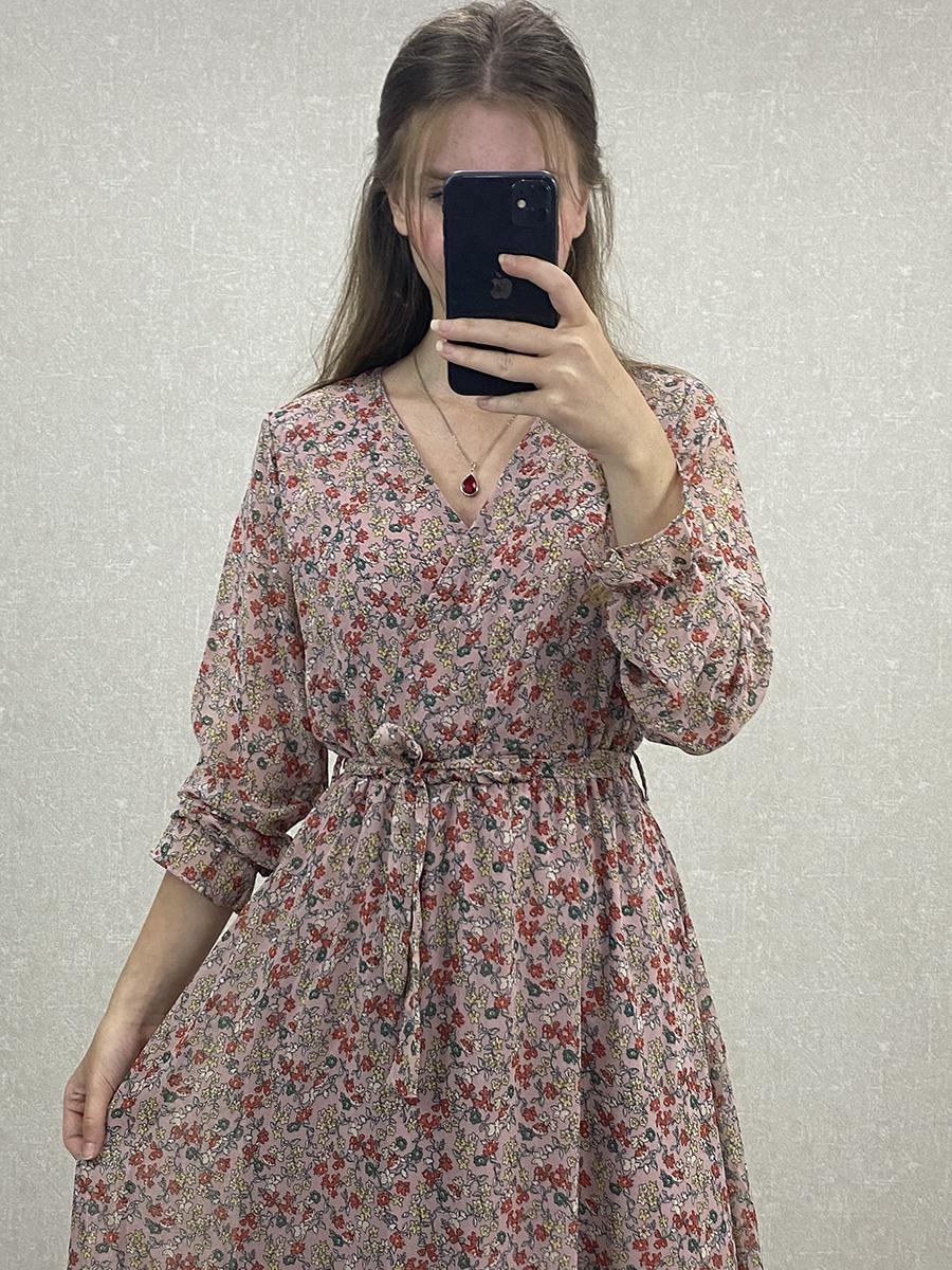 Uzun Kol Çiçekli Pudra Şifon Maxi Elbise
