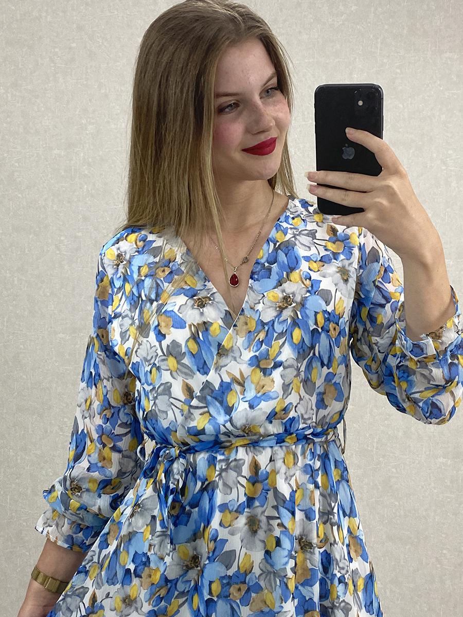 Uzun Kol Çiçekli Mavi Şifon Maxi Elbise