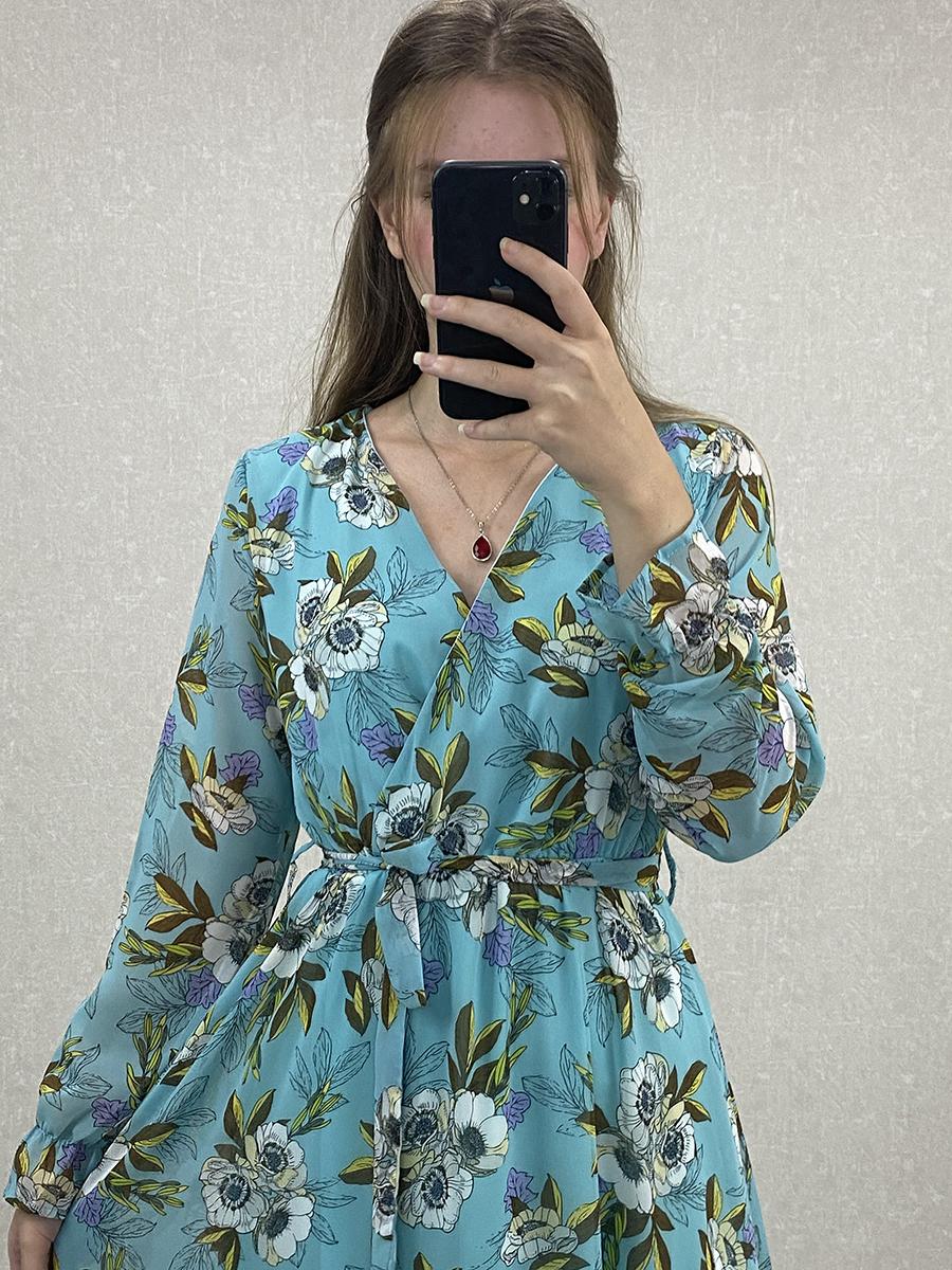 Uzun Kol Çiçekli Turkuaz Şifon Maxi Elbise