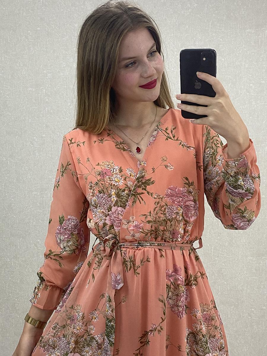 Uzun Kol Çiçekli Yavruağzı Şifon Maxi Elbise