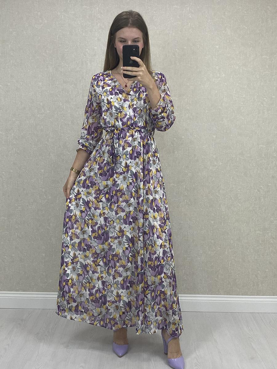 Uzun Kol Çiçekli Mor Şifon Maxi Elbise