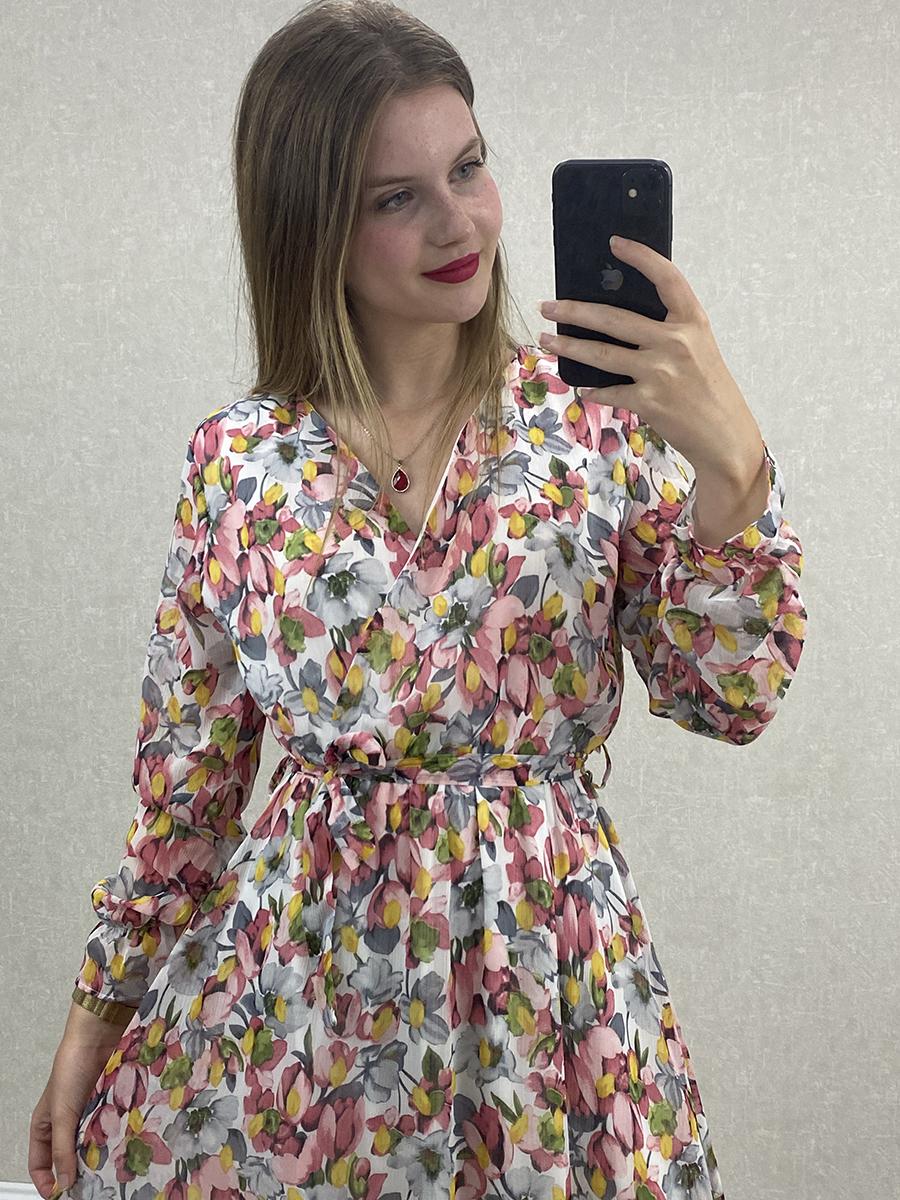 Uzun Kol Çiçekli Pembe Şifon Maxi Elbise