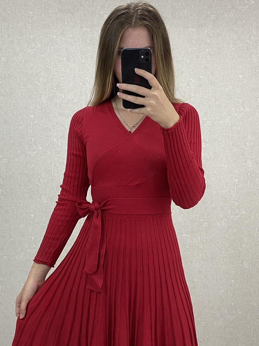 Kruvaze Yaka Kuşaklı Kırmızı Midi Triko Elbise