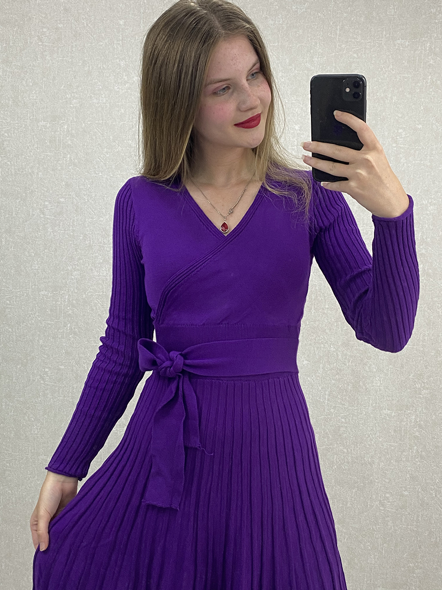 Kruvaze Yaka Kuşaklı Mor Midi Triko Elbise
