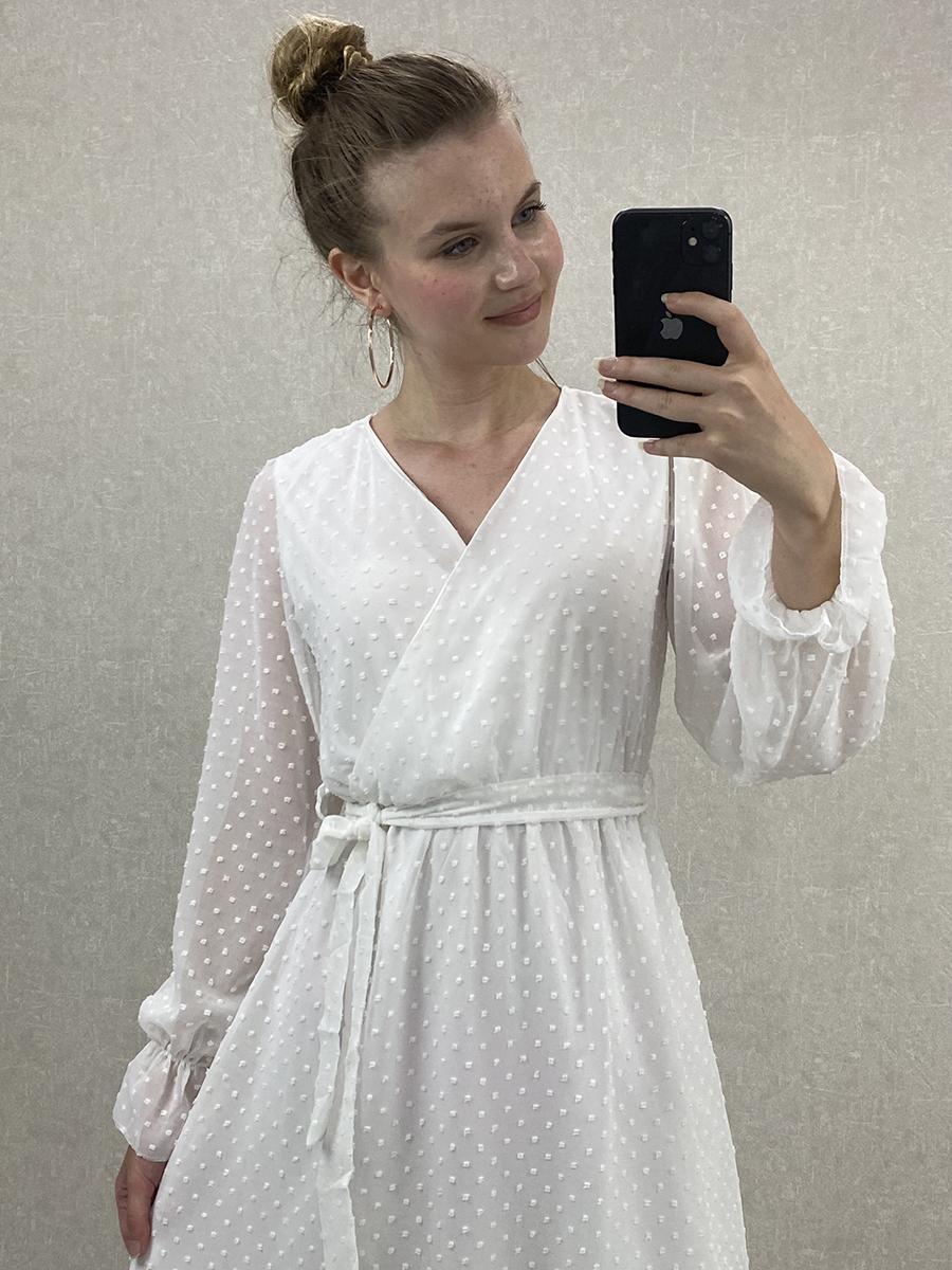 Kruvaze Puantiyeli Beyaz Şifon Midi Elbise