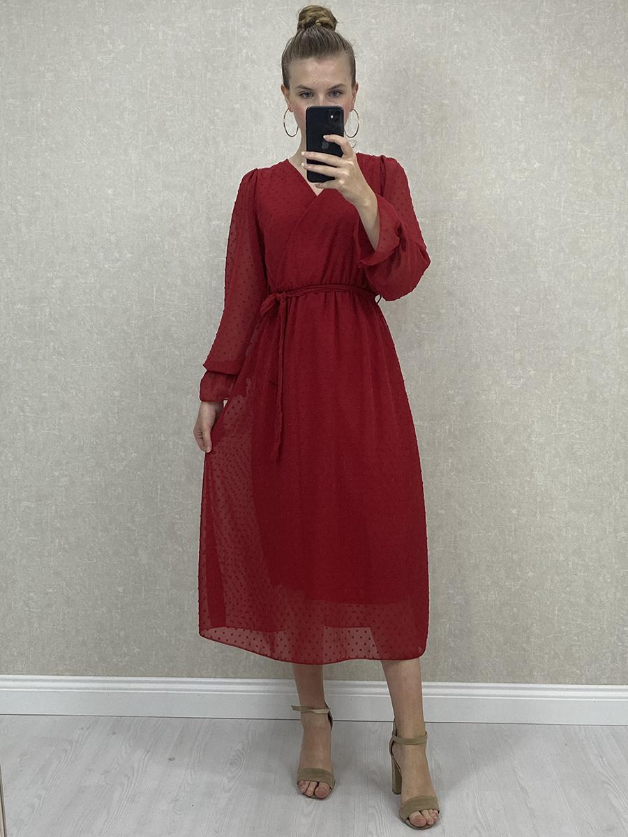 Kruvaze Puantiyeli Kırmızı Şifon Midi Elbise