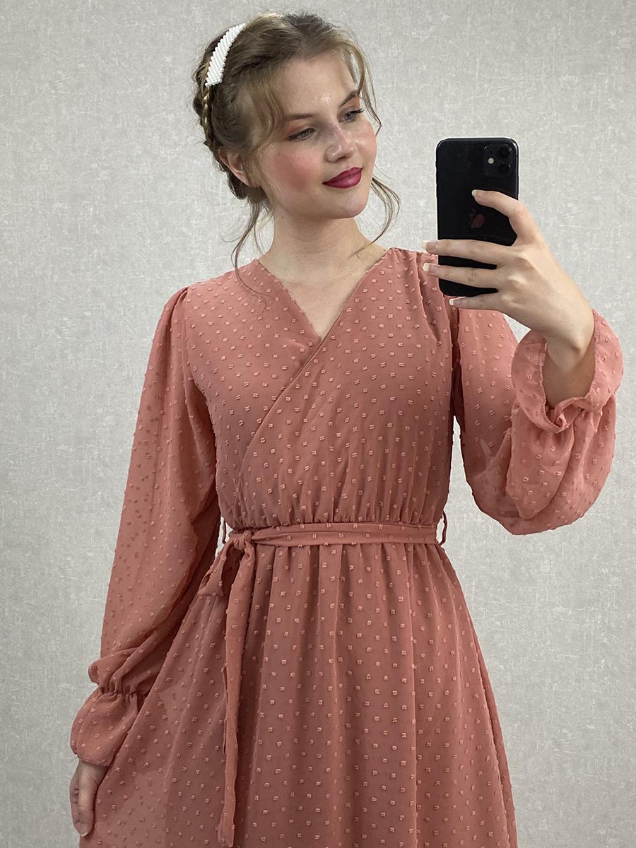 Kruvaze Puantiyeli Gülkurusu Şifon Midi Elbise