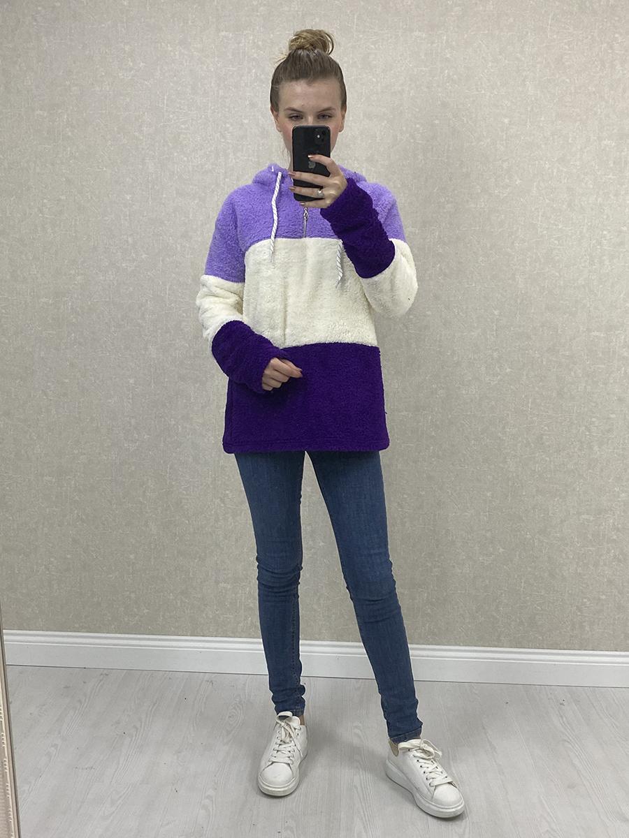 Kapşonlu Peluş Sweatshirt - Lila Beyaz Mor