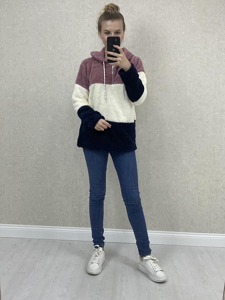 Kapşonlu Peluş Sweatshirt -Pembe Beyaz Siyah