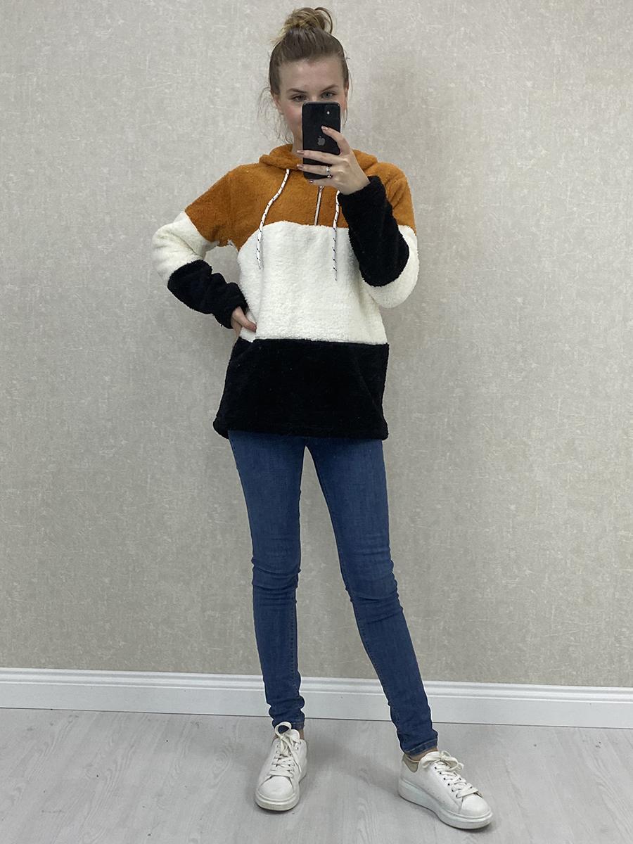 Kapşonlu Krem Peluş Sweatshirt- Turuncu Beyaz Siyah