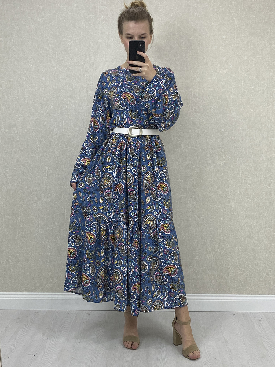 Şal Desen Yarasa Kol Kemerli Mavi Midi Elbise