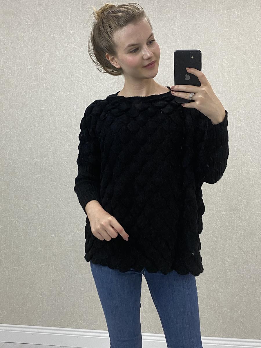 Siyah Salaş Örme Kazak