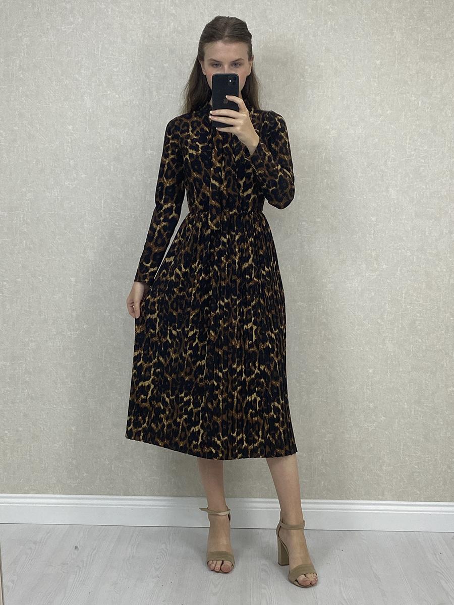 Fularlı Piliseli Leopar Desenli Şifon Midi Elbise