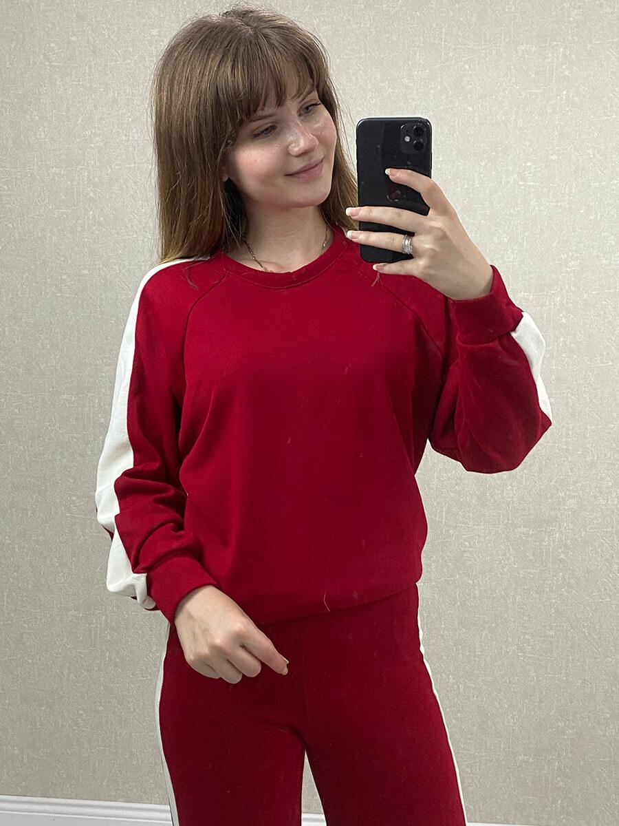 Beyaz Şeritli Kırmızı Triko İkili Takım