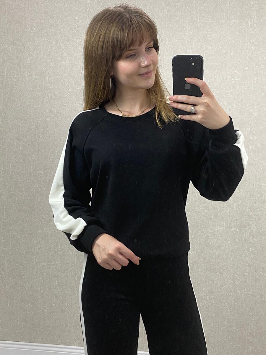 Beyaz Şeritli Siyah Triko İkili Takım