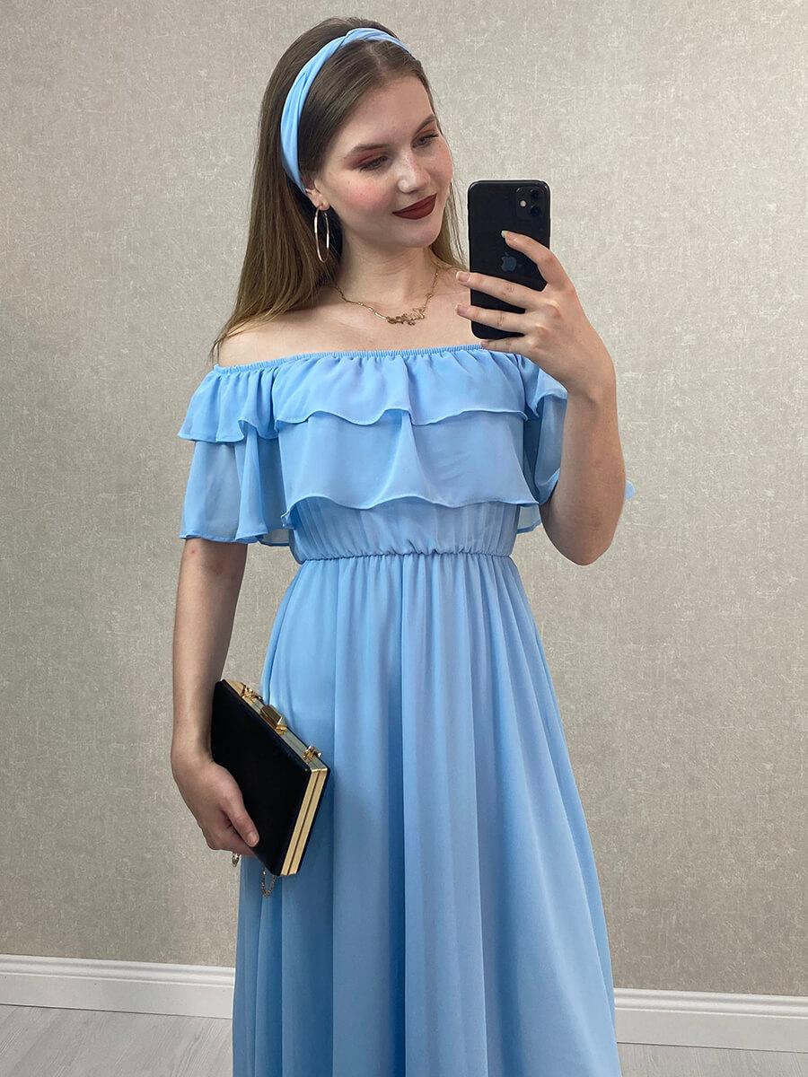 Düşük Omuz Bebe Mavisi Şifon Midi Elbise