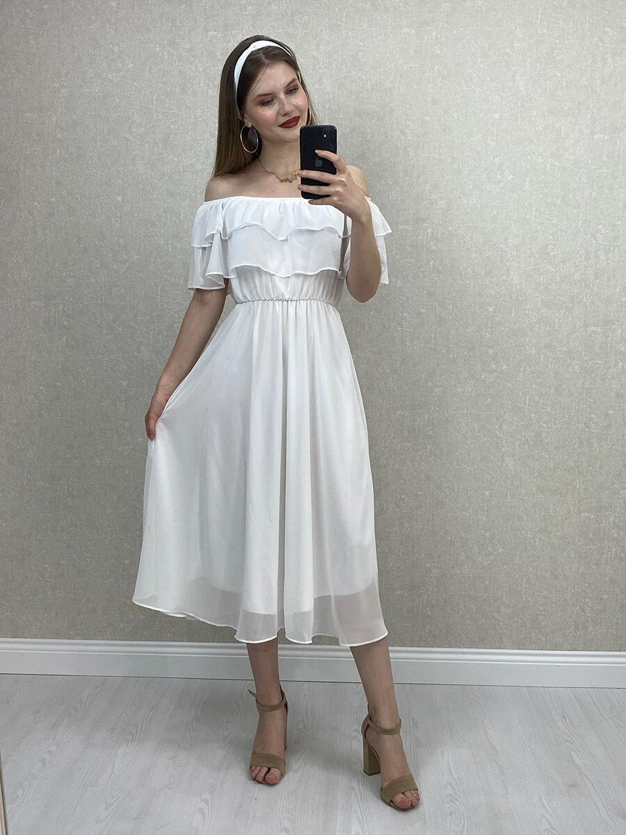 Düşük Omuz Beyaz Şifon Midi Elbise