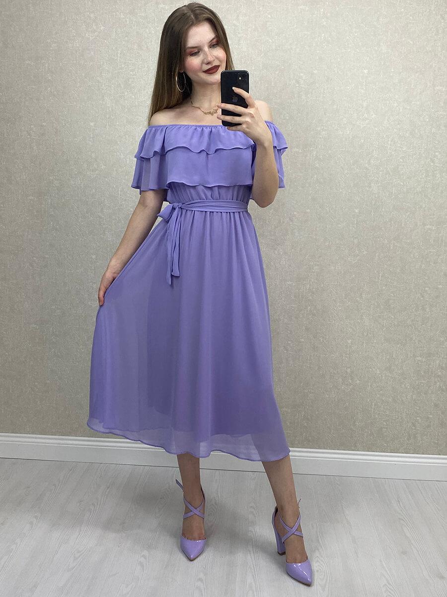 Düşük Omuz Lila Şifon Midi Elbise