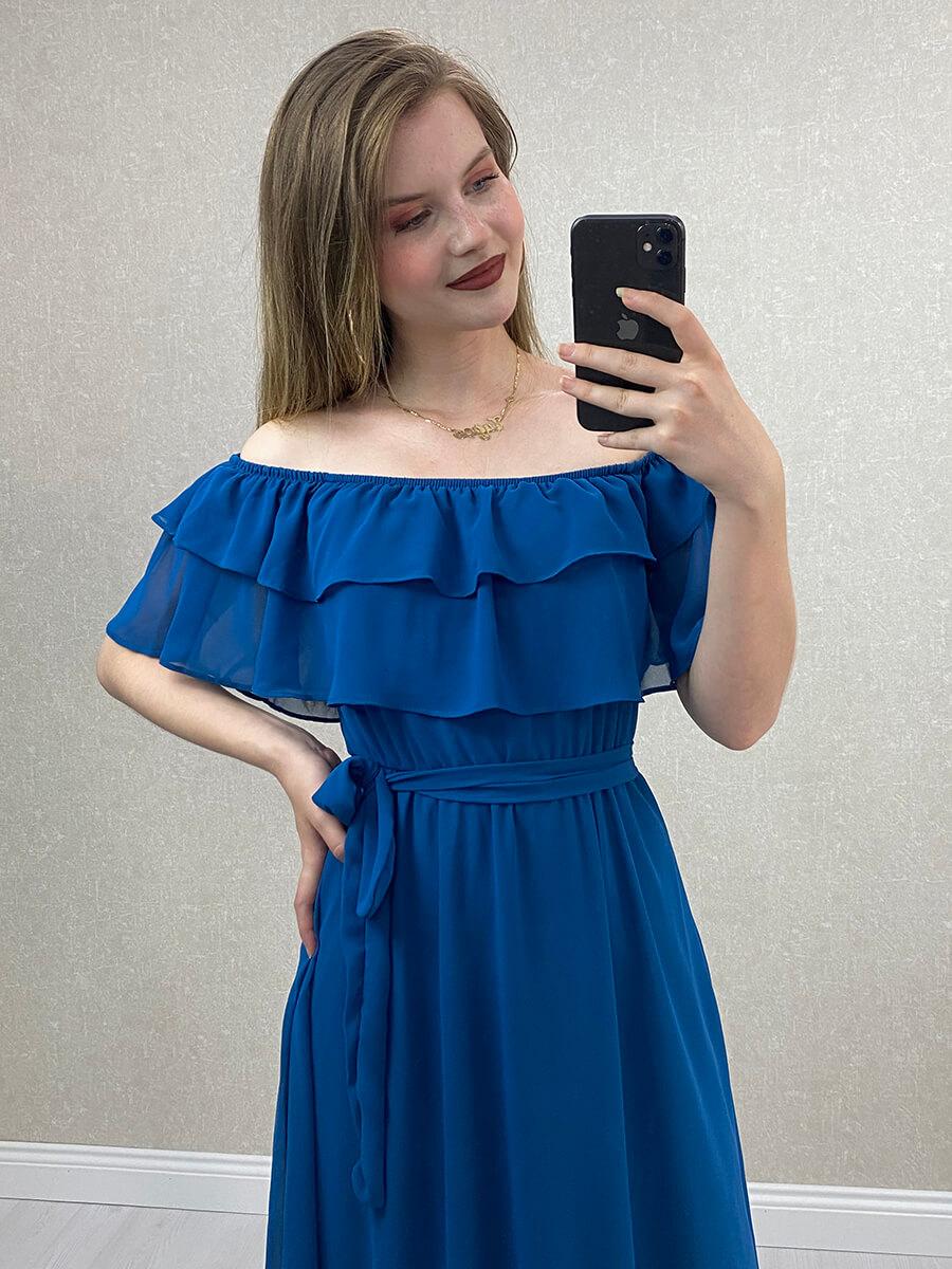 Düşük Omuz Petrol Mavisi Şifon Midi Elbise