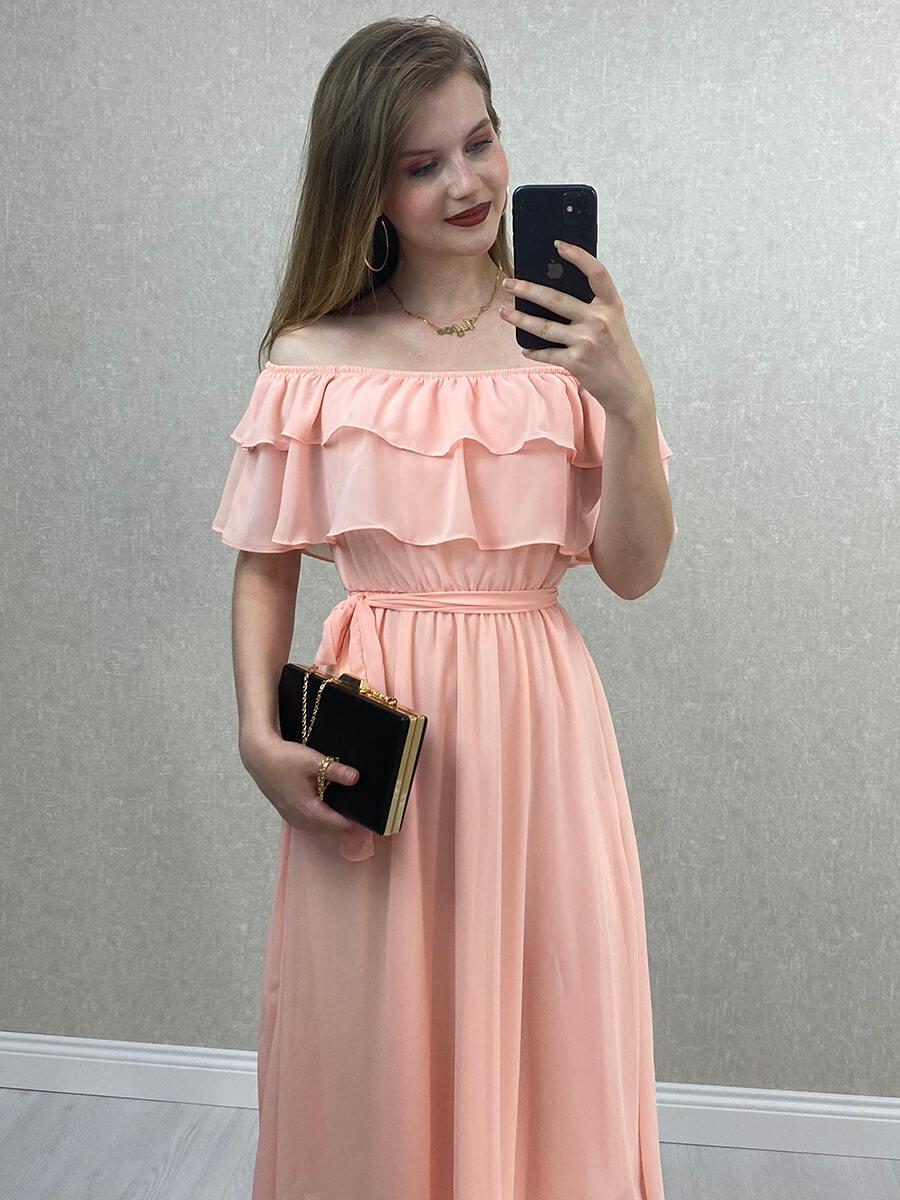 Düşük Omuz Pudra Şifon Midi Elbise